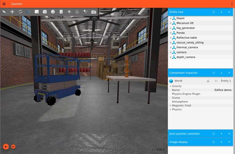 A screenshot of the Open Robotics Gazebo simulation software